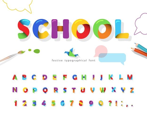 Fonte de quebra-cabeça 3d da escola. alfabeto colorido para crianças.