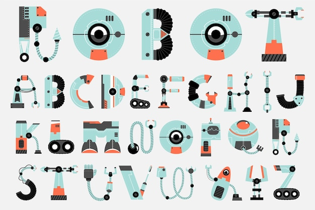 Fonte de robô, robótica, conjunto de alfabeto sci fi