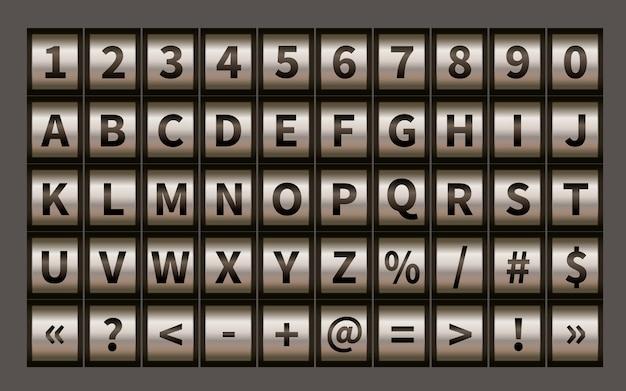 Fonte de roda de letra, símbolos de cadeado de código com números