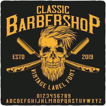 Fonte de rótulo vintage barbearia clássica