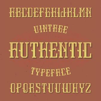 Fonte de rótulo vintage chamada authentic