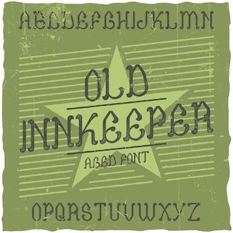 Fonte de rótulo vintage chamada innkeeper