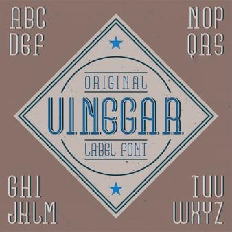 Fonte de rótulo vintage chamada vinagre. bom para usar em qualquer rótulo criativo.