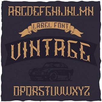 Fonte de rótulo vintage com design de rótulo de amostra. bom para usar em qualquer etiqueta de design retro.