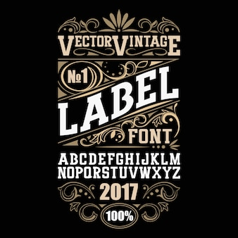 Fonte de rótulo vintage. estilo de rótulo de álcool.