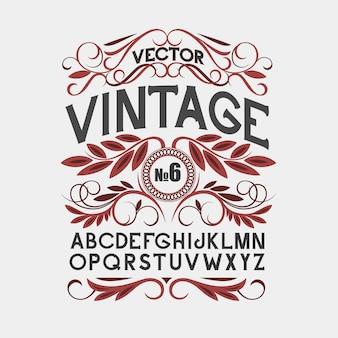Fonte de rótulo vintage estilo de rótulo de álcool
