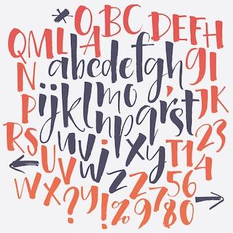Fonte de script manuscrita. limpe a fonte. letras maiúsculas, números, pontuação