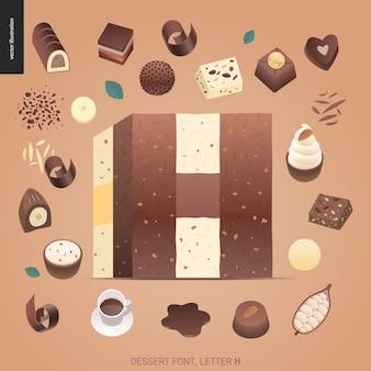 Fonte de sobremesa - letra h