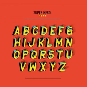 Fonte de super-herói e desenho de alfabeto, tipografia retro e ilustração de tema cômico