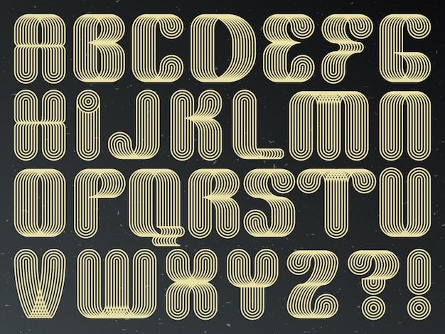 Fonte de tecnologia futurista. letras compostas listradas.