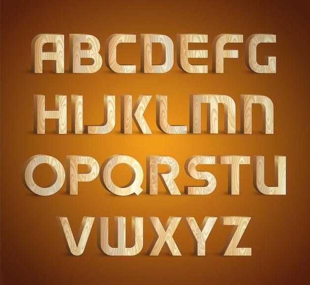 Fonte de textura de madeira geométrica isolada. símbolos do alfabeto de tipo de material de madeira 3d. ilustrações.