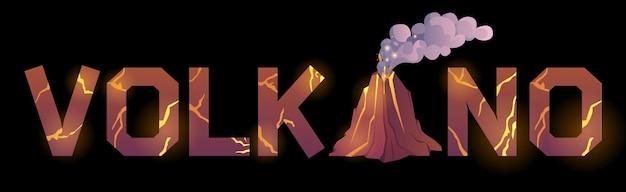 Fonte de tipografia com textura de lava e vulcão