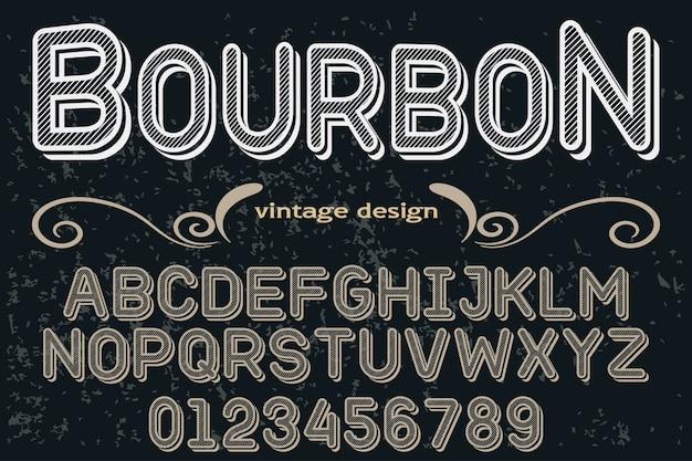 Fonte de tipografia estilo gráfico bourbon