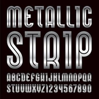 Fonte de tira metálica. alfabeto moderno, letras prateadas