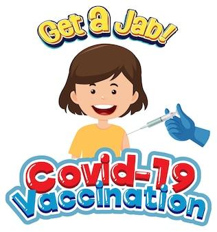 Fonte de vacinação covid-19 com uma menina recebendo a vacina covid-19