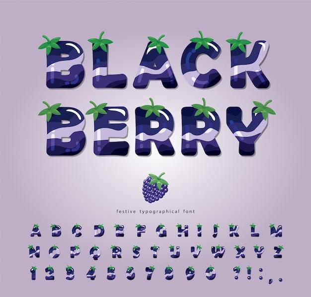 Fonte de verão blackberry. alfabeto 3d dos desenhos animados.