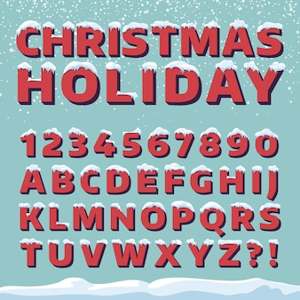 Fonte de vetor de férias de natal. letras 3d retros com tampões da neve. fonte de natal com neve e gelo, abc e ilustração de dígito