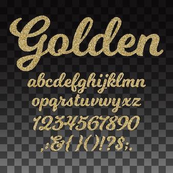 Fonte de vetor de glitter dourados, alfabeto dourado com letras minúsculas, números e símbolos