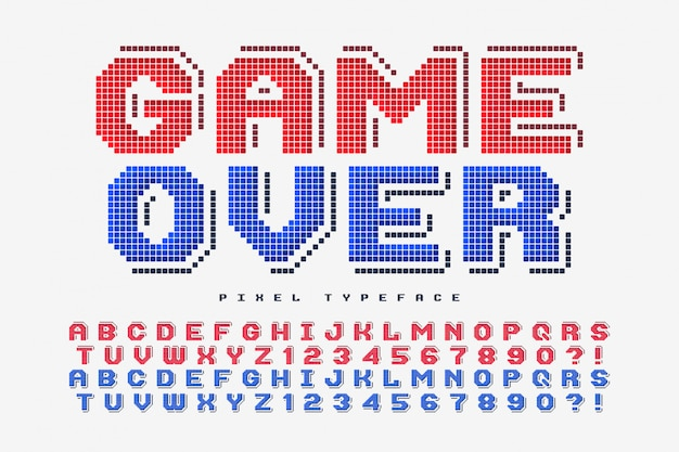 Fonte de vetor de pixel, estilizada como em jogos de 8 bits