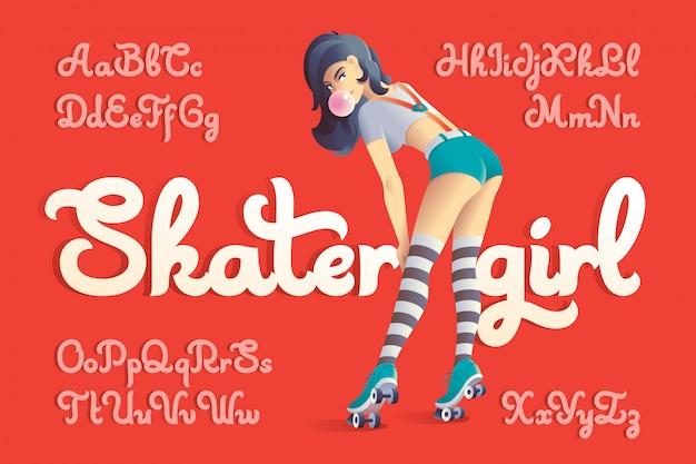 Fonte de vetor definido com ilustração de garota skatista