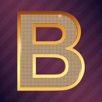 Fonte de vetor ícone dourado maiúsculo com letra b