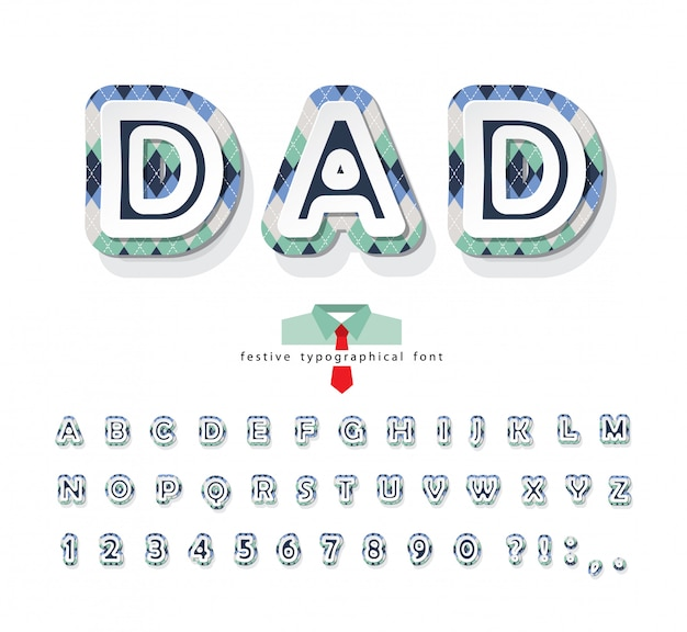 Fonte decorativa argyle. alfabeto de dia dos pais.