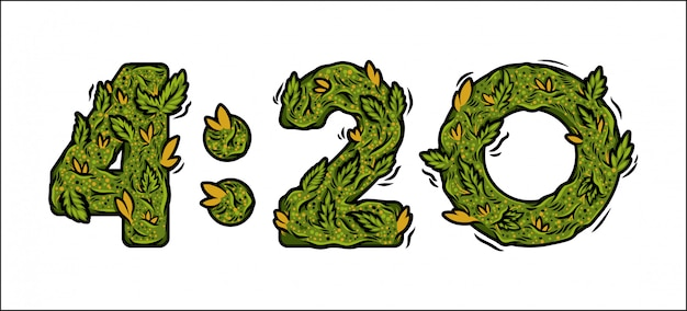 Fonte decorativa de maconha verde com número de plantas daninhas de design de letras isoladas de tempo.