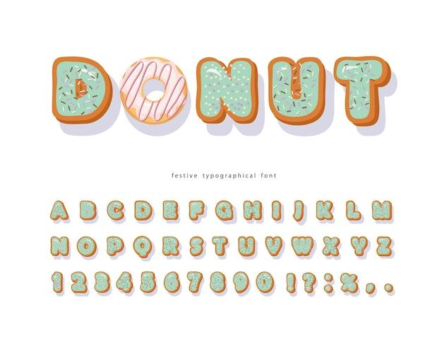 Fonte decorativa desenhada de mão donut. desenhos animados de letras e números doces