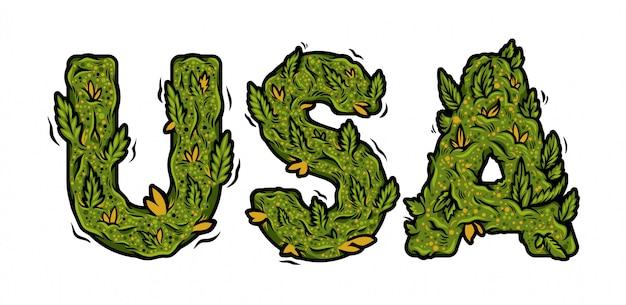 Fonte decorativa maconha verde com a inscrição