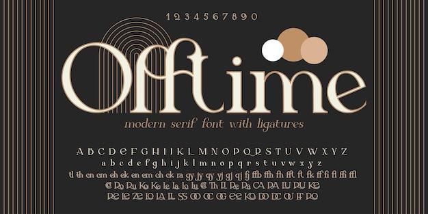 Fonte decorativa vintage offtime. face tipográfica retrô. alfabeto com serifa de elegância. fonte de vetor para rótulo, branding, tags, t-shirt, garrafa de álcool.