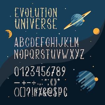 Fonte desenhada mão, alfabeto latino, letras maiúsculas