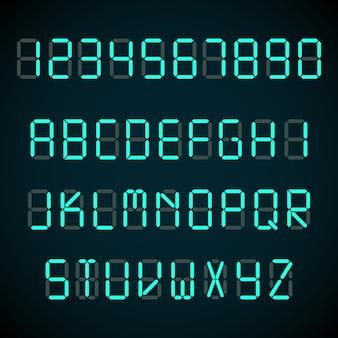 Fonte digital, letras de despertador e números alfabeto