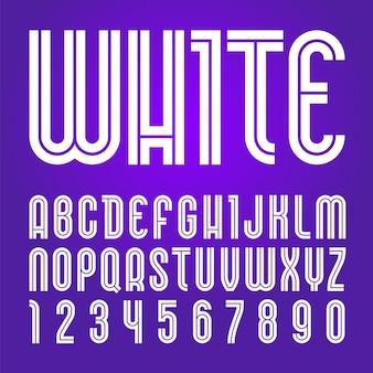 Fonte disco. alfabeto moderno, letras brancas do vetor sobre um fundo roxo.