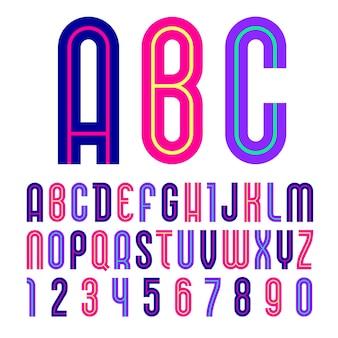 Fonte disco. alfabeto moderno, letras coloridas em um fundo branco