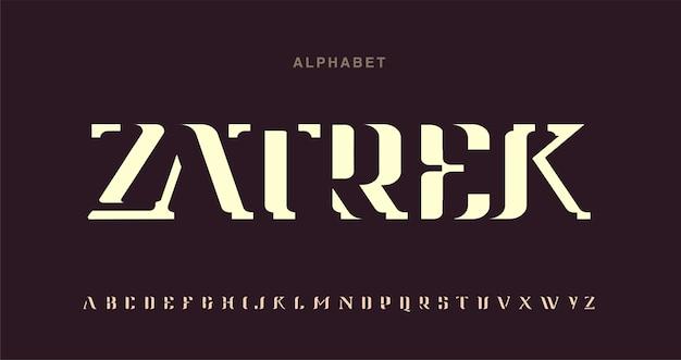 Fonte do alfabeto com espaço negativo. design de tipografia minimalista pós-moderna