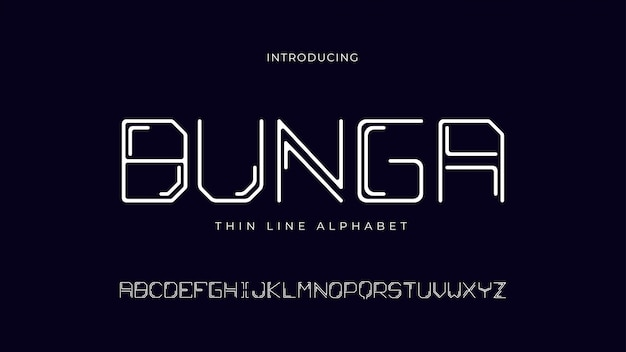 Fonte do alfabeto de linha fina de bunga