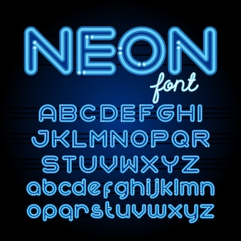 Fonte do alfabeto de luz de néon. letras de tubo de néon em fundo escuro. conjunto de maiúsculas e minúsculas