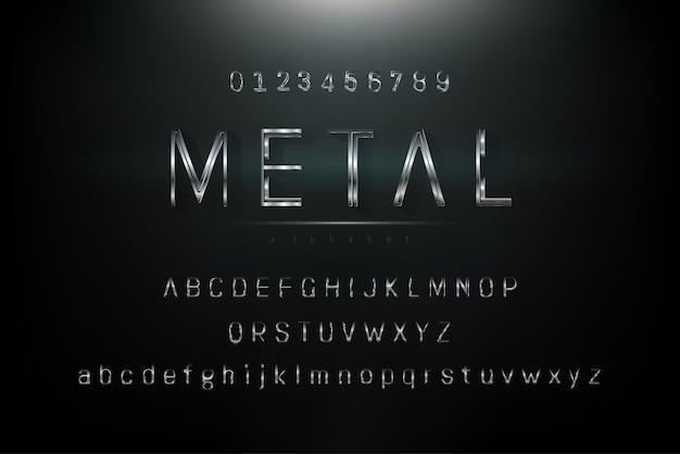 Fonte do alfabeto de tema metálico cinza prata brilhante conjunto com minúsculas e números