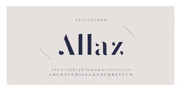 Fonte do alfabeto do alfabeto impressionante elegante e número