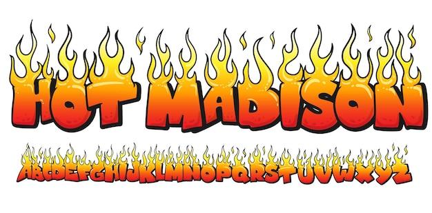 Fonte do alfabeto em chamas de fogo.