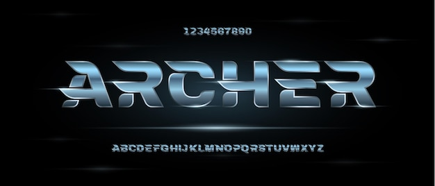 Fonte do alfabeto futurista moderno abstrato.