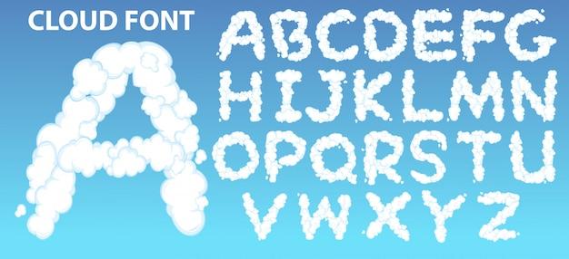 Fonte do alfabeto inglês de nuvem