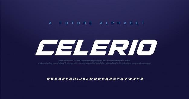Fonte do alfabeto itálico moderno do esporte