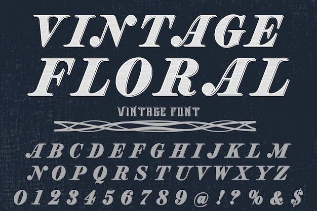 Fonte do alfabeto script tipo de letra feito à mão floral vintage