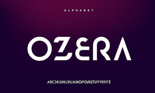 Fonte do alfabeto urbano moderno abstrato. tecnologia de tipografia, eletrônica, filme, digital, música, futuro, fonte criativa de logotipo.