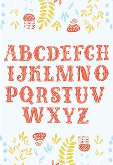 Fonte do alfabeto vintage dos desenhos animados de vetor. letras ornamentadas para rótulos, manchetes, cartazes decorados com flores. tipo de letra latino para o seu design.