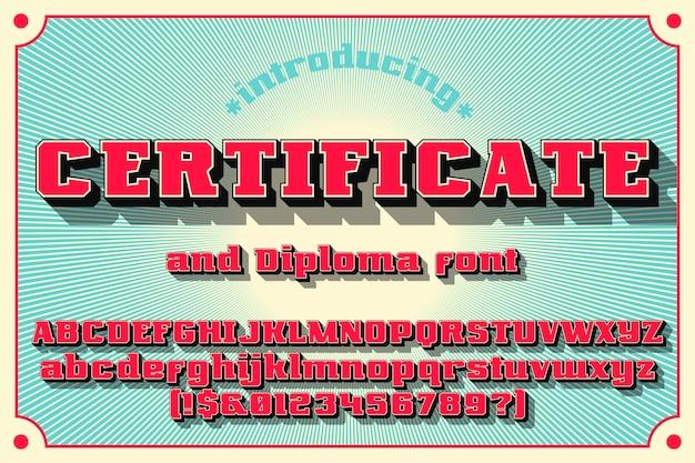 Fonte do certificado e diploma
