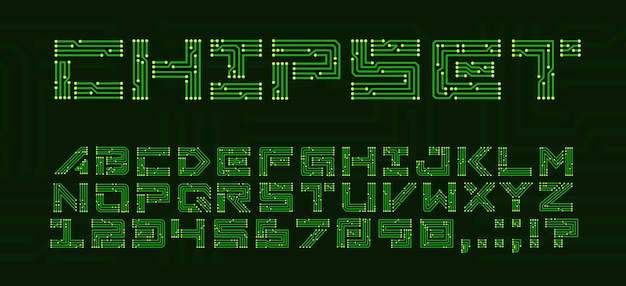 Fonte do chipset com letras da placa de circuito. techno type abc com placa-mãe eletrônica