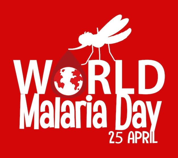 Fonte do dia mundial da malária com mosquito em fundo vermelho