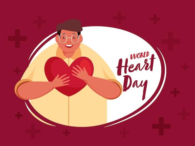 Fonte do dia mundial do coração com felicidade homem segurando um coração sobre fundo vermelho.